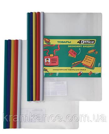 Папка - файл 4OFFICE 4-250 с бок. планкой-прижимом 10мм (65 лист) 140мкм, фото 2
