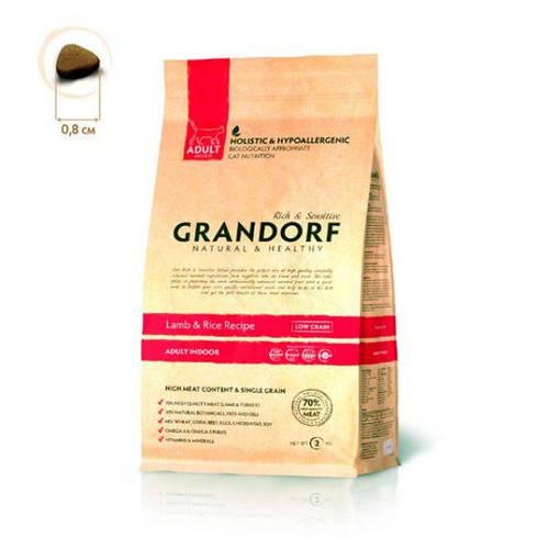 Grandorf Грандорф Ягненок с рисом для взрослых кошек, GRANDORF Lamb & Rice ADULT INDOOR, 2 кг, фото 2