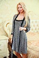 """Леопардовый женский домашний комплект-двойка """"Lios"""" с халатом"""