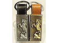 Зажигалка брелок на ключи с картиной лошади. Подарочная кремневая зажигалка
