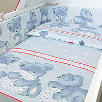 """Бортик , защитный бампер в кроватку """"Ведмедик"""" на всю кроватку из двух частей серый"""