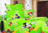 """Полуторный постельный комплект белья """" Микки и Минни Маус """" высокого качества с героями мультфильмов"""