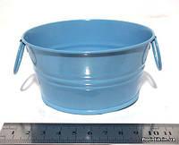 Тазик металлический декоративный 10,5 см. голубой