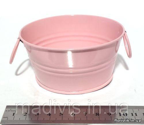 Тазик металлический декоративный 10,5 см. розовый