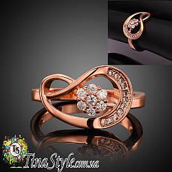 Кольцо женское цветок бесконечность Позолота 18К Обручальное цирконий ШИКАРНОЕ! НОВИНКА! ХИТ!