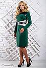 Женское трикотажное платье размеры от 50 до 56, со вставками из эко-кожи, зелёное, фото 2