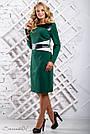 Женское трикотажное платье размеры от 50 до 56, со вставками из эко-кожи, зелёное, фото 3