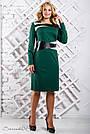 Платье трикотажное большого размера зелёное, фото 4