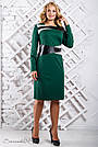 Женское трикотажное платье размеры от 50 до 56, со вставками из эко-кожи, зелёное, фото 4