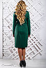 Женское трикотажное платье размеры от 50 до 56, со вставками из эко-кожи, зелёное, фото 5