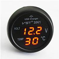 Индикатор напряжения автомобильный в прикуриватель, термометр, USB зарядка, красно-зеленая подсв.