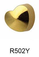 Серьги для прокола мочки уха R502Y Сердечко с золотым напылением