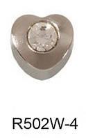 Серьги для прокола мочки уха R502W-4 Сердечко с хрусталем без напыления