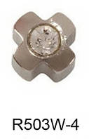 Серьги для прокола мочки уха R503W-4 Крестик с хрусталем без напыления