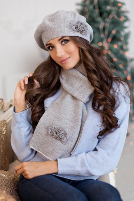 Зимний женский комплект «Флори» (берет и шарф) Светло-серый меланж