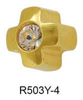 Серьги для прокола мочки уха R503Y-4 Крестик с хрусталем c золотым напылением