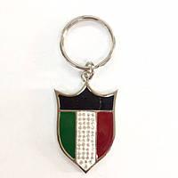 """Металлический брелок """"Флаг Сборной Италии по футболу"""" в белом металле"""