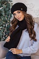 Зимний женский комплект «Нарцисс» (берет и шарф) Черный