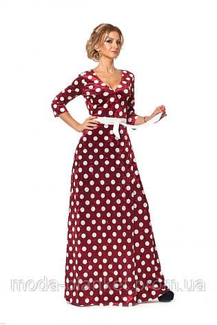 Платье с запахом из бархата принтованное горохом, фото 2