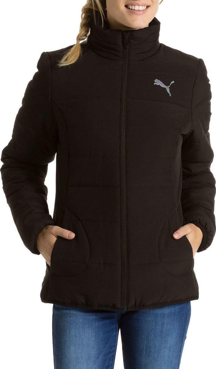 Куртка спортивная женская Puma Ess Padded 838666 01 (черная, демисезонная, воротник стойка, с логотипом пума)