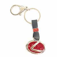 Брелок для ключей Lexus в красных камнях с кожаной вставкой