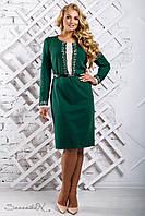 Женское трикотажное платье прямое,отрезное по талии, с длинным рукавом, зелёное, размер 50, 52, 54, 56
