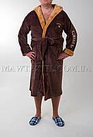 Мужской  махровый халат коричневый (СAMEL) (бесплатная доставка+подарок)