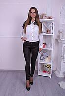Коричневые женские брюки с кожаной вставкой Dsquared