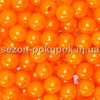 Жемчуг пластик диаметр 8мм (упаковка 100шт) Цвет - ярко оранжевый