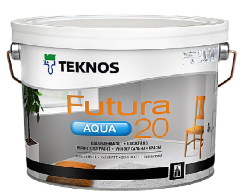 Краска уретан-алкидная TEKNOS FUTURA AQUA 20 водоразбавляемая белая (база1) 9л