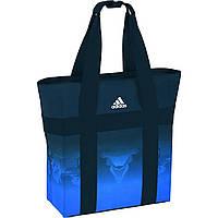 Сумка спортивная adidas Real Madrid Tote Gym Bag AA1069 (синяя с черным, ремни для мата, пляжная, адидас)