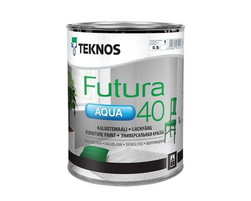 Краска уретан-алкидная TEKNOS FUTURA AQUA 40 водоразбавляемая белая (база1) 0,9л