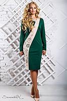 Оригинальное женское трикотажное платье прямое, с длинным рукавом, зелёное, размер 50, 52, 54, 56