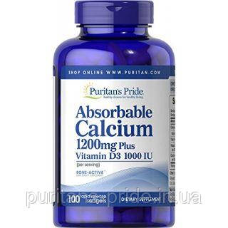 Кальций с витамином д3, Puritan's Pride, Absorbable Calcium 1200 mg with Vitamin D 1000 IU 100 Softgels