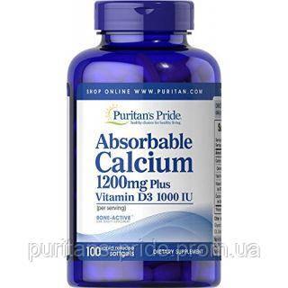 Кальцій з вітаміном д3, Puritan's Pride, Absorbable Calcium 1200 mg with Vitamin D 1000 IU 100 Softgels, фото 2