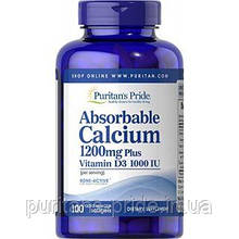 Кальций с витамином д3, Puritan's Pride, Absorbable Calcium 1200 mg with Vitamin D 1000 IU 100 Softgels