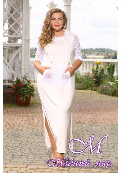 Женское белое платье большого размера (р. 48-90) арт. Модейра
