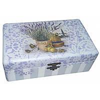 Шкатулка деревянная декупаж Лаванда с лимонами