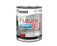 Краска уретан-алкидная TEKNOS FUTURA AQUA 80 водоразбавляемая белая (база1) 0,9л