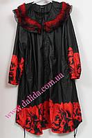 Женский плащ батал нарядный на меху черный с красными розами  Darkwin