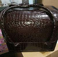 Чемодан, маникюрная сумка для мастера, кож.зам, лак, шоколадный цвет