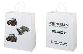 Пакет бумажный белый с печатью 250х150х350 4+4, фото 2