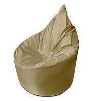 Бежевое бескаркасное кресло мешок Капелька из ткани Оксфорд