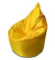 Желтое бескаркасное кресло мешок Капелька из ткани Оксфорд