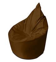 Коричневое бескаркасное кресло мешок Капелька из ткани Оксфорд