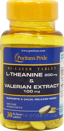 Л-Тианин с экстрактом валерианы, Puritan's Pride, L-Theanine 200 mg & Valerian Extract 100 mg 30 Tablets, фото 2