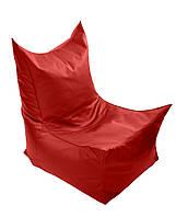 Красное бескаркасное кресло трон из кож зама Зевс