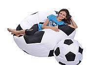 Кресло-мяч 130 см из кожзаа Зевс черно-белое, кресло-мешок мяч