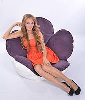 Комбинированное бескаркасное кресло Цветок из велюра и кожзама