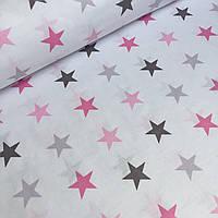 Бязь польская, шлифованная серые и розовые звезды 4 см на белом фоне 130 г/м2 № 724